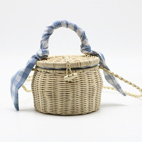 New rattan bag wicker lattice handbag portable silk scarf Straw flask bag small Round beach bag