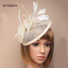 Hochzeit Hüte und Fascinators Federn Leinen Elegante Braut Hüte Goldene Farbe frauen Hut Haarschmuck SH13