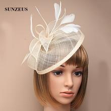 Kapelusze ślubne i fascynatory pióra lniane eleganckie kapelusze ślubne złoty kolor kapelusz damski akcesoria do włosów SH13
