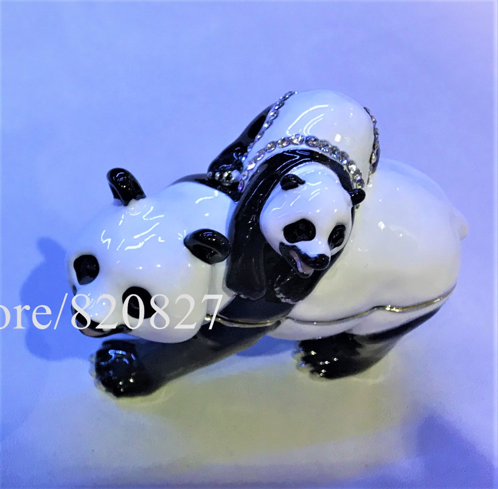 цена Panda Mother and Bady Bejeweled Trinket Box Handmade Panda & Baby Bejeweled Jewelry Trinket Box Bear Jewllery Gift Boxes