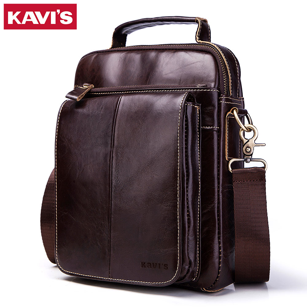 KAVIS Men bags 100% Genuine Leather Shoulder Bag Men Classic Business CrossBody Bag Designer Cow High Quality Messenger Travel baillr brand genuine leather high quality business men s bag messenger bags men leather crossbody shoulder bag men travel bags