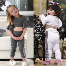 Toddler Baby Girls crop top 2 PCS Clothes Set Flare Sleeve Bare Midriff Tops+Striped Pants Clothing Outfits Sets sport suits(China)