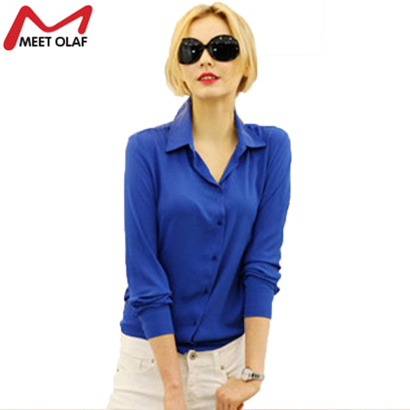 Spring Women Blouses Office Lady OL Long Sleeve Chiffon Blouse Shirts Woman Casual Work Wear Tops Feminina Blusa YL231