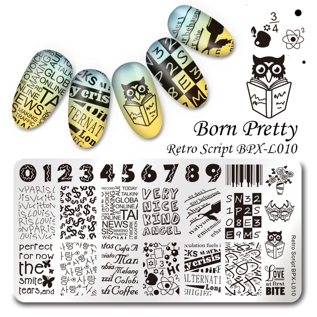 Born pretty retro script rectangle nail art stamp template 126cm born pretty retro script rectangle nail art stamp template 126cm number letter stamping image prinsesfo Choice Image