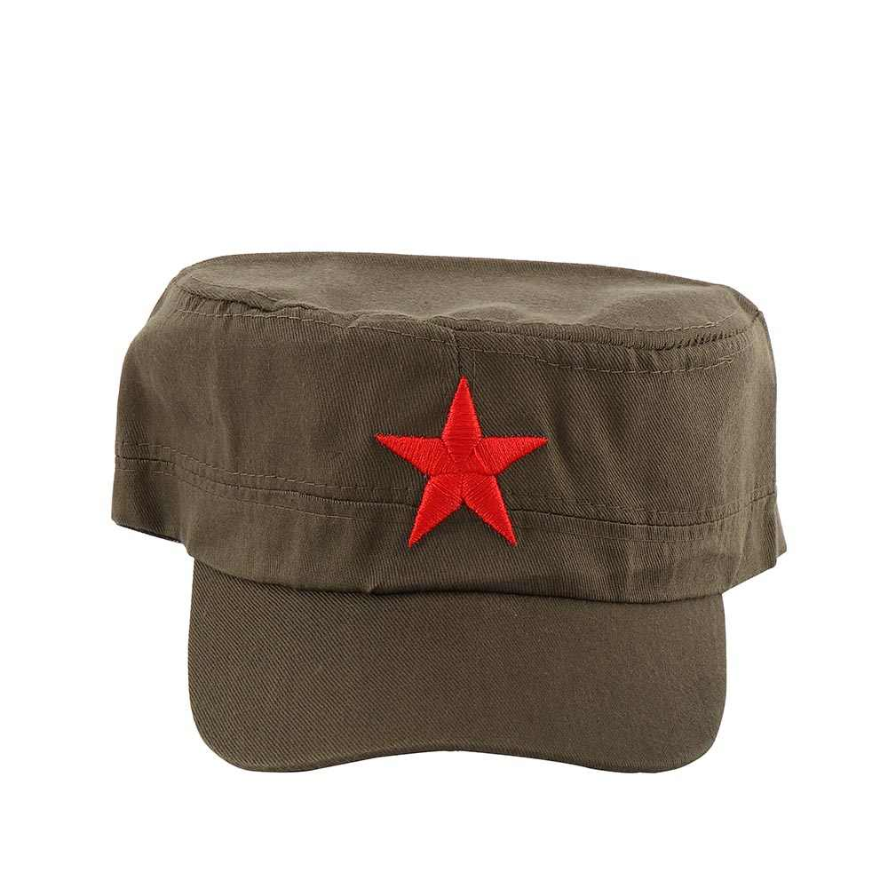 New China Chairmen Mao Red Star Pattern Flat Top Cotton Fabric Army Cap Hat Communist Army Hat
