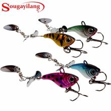 Sougayilang 12 Pcs Fishing Lures 4 Colors Winter Wobble Fishing Bait Spinnerbait Spoon Fishing Lures