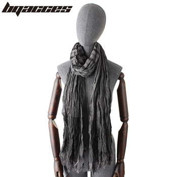 [BQACCES] Plaid Stripe Print Cotton Viscose Scarf Fringed Wrinkled Voile Long Scarves Women Shawl Wraps Hijab Bufanda Original