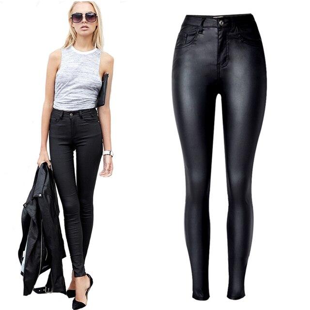 Mujeres de la manera Pantalones mujer cuero negro pu lápiz ...