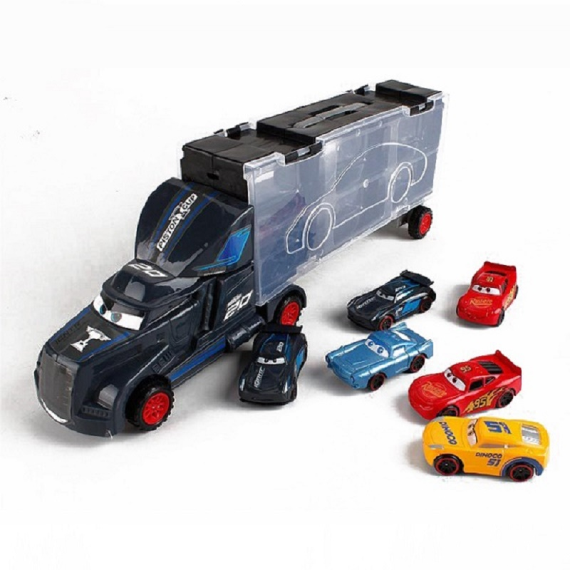Disney Diecast Metal Alloy Pixar Cars 3 Metal Truck <font><b>Hauler</b></font> with Cars Disney Cars 3 Jackson Storm McQueen Kids Christmas Gift Toy image