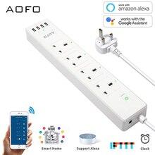 Smart WiFi Power Strip APP Remote Voice Individual Control with Amazon Alexa Google Home , App Control Multi Plugs,AC110V-240V