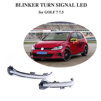 Crystal for VW Golf MK7 GTI 7 R Rline GTD Dynamic Bright LED Turn Signal Mirror Light water flowing clear version