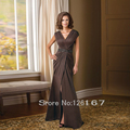 Brown Pleated Mother Of The Bride Dresses Sleeveless elegant Satin Evening Dress For Woman Sexy Mother Dress 2017 New CGM013