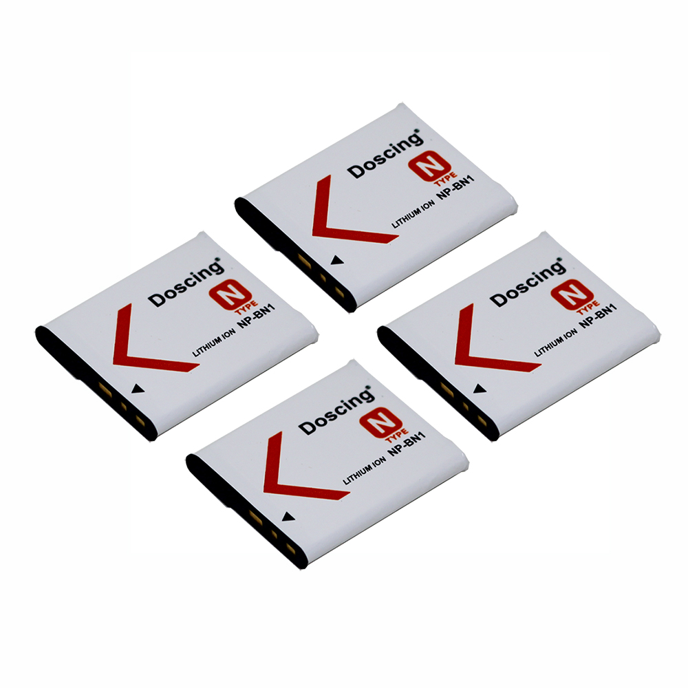 4Pcs/lot 900mAh NP-BN1 Camera Battery NPBN1 NP BN1 BN Batteries For <font><b>SONY</b></font> <font><b>DSC</b></font> TX9 T99 WX5 TX7 TX5 W390 W380 W350 <font><b>W320</b></font> W360 QX100 image