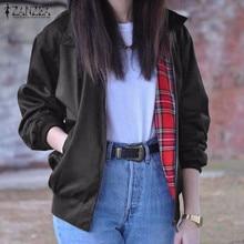 Oversized 2016 Autumn Women Casual Outerwear Long Sleeve Vintage Tartan Zippered Pockets Bomber Jacket Coat Plus