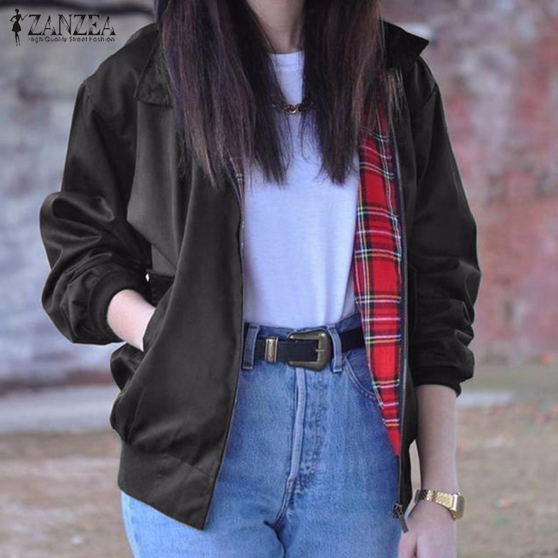 Oversized 2016 Autumn Women Casual Outerwear Long Sleeve Vintage font b Tartan b font Zippered Pockets
