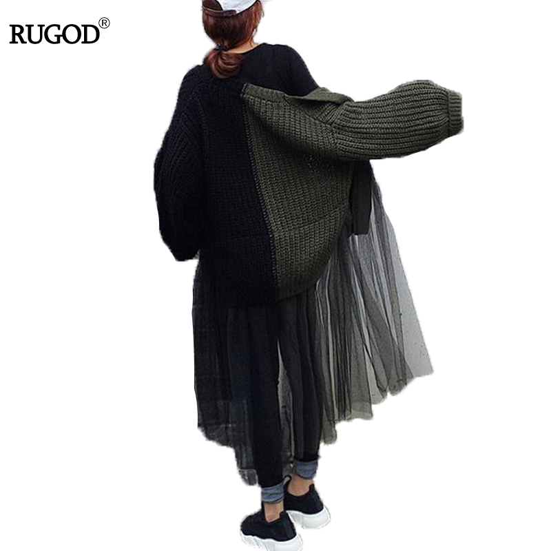 RUGOD Fashion Long Women Cardigan Long Sleeve Patchwork Ruffles Mesh Plus Size Cardigan Casual Loose Knitted Cardigan