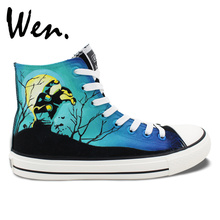 Wen Design Custom Hand Painted Shoes Men Women's Sneakers Walking Dead Painted High Top Canvas Sneakers for Christmas Gifts