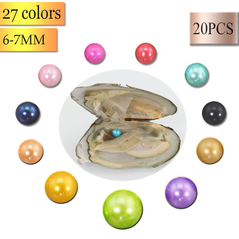 Bulk 20pcs 6-7mm AAA Pearl Freshwater Cultured Love Wish Pearl Oyster Mussel Mixed Colors Natural Real Pearls Akoya Oyster FP268 ...