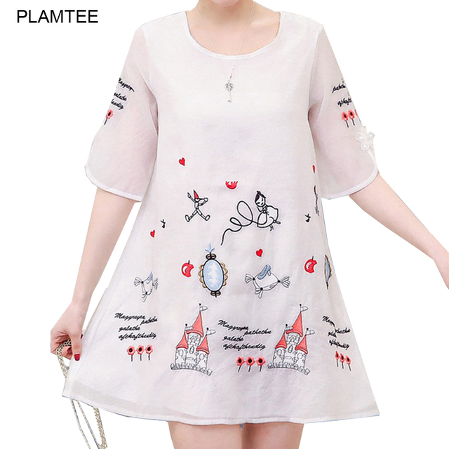 Cartoon Embroidery White Vestidos Gravida A Line Elegant Maternidade Jurken New Summer Maternity Dresses for Pregnant Women Robe