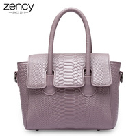 Zency Spring Summer New Women Tote Bag 100 Genuine Leather Alligator Crocodile Lady Messenger Trapeze Shape