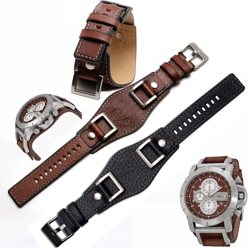 Fossil JR1157 bracelet de montre en cuir véritable 24mm hommes montre bracelet en cuir de haute qualité style rétro