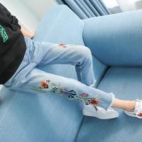 Вышивка джинсы для девочек осенняя одежда 3 4 5 6 7 8 9 10 11 для детей 12 лет детские джинсовые штаны 2017, Новая Мода Цветочные Детские штаны детские