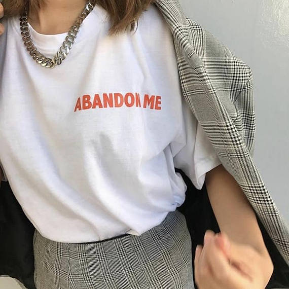 New Arrive Casual Style Clothes Aesthetic Tee Abandon Me ...