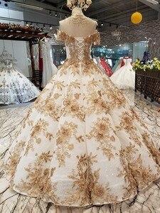 Image 2 - 2018 새로운 패턴 신부 한 단어 어깨 한국어 자기 재배 얇은 간결한 긴 꼬리 색 웨딩 드레스 전체 드레스