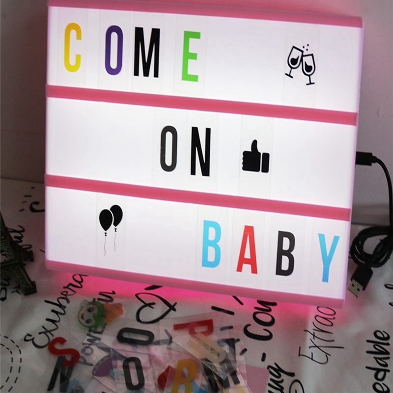 New Box Light Led Lamp DIY Birthday Gifts A4 Size Colorful Letter Animal Unicorn Emoji 252 Card USB AA Battery Home Table Decor diy handwriting ornaments light box table a4 led luminous battery usb powered desk night light box plaques sign for wedding part
