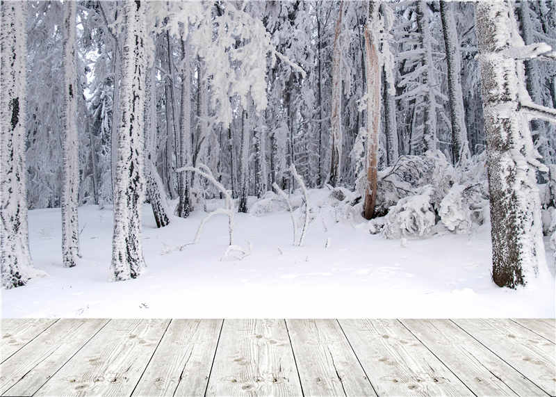 KIDNIU Scenic Background Trees Winter Snow Photo Studio Wooden Floor Photography Backdrops Vinyl 7x5ft or 5x3ft JIEJP048 kidniu chair background for baby photo studio props scenic vinyl street photography trees backdrops screen 9x5ft an070