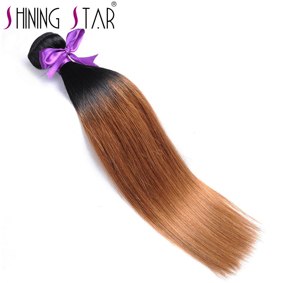 Blonde Ombre Hair Bundles 100% Peruvian Straight Human Hair Extension 1B/30 10-26 Inches Shining Star Non Remy 1Pc No Shedding