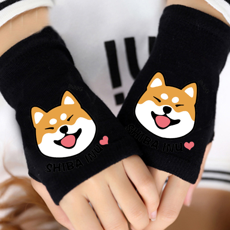 Anime Death Note/Vocaloid/EVA/No Game No Life/No Face man Gloves Cotton Print Glove Fingerless Lovers Cartoon Black Mitten Unise