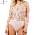 Fashin Deep V Neck Lace Golden embroidered Flower Bodysuits Rompers Womens Jumpsuit Sexy Summer Beach Girls Combinaison Femme
