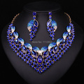 New Fashion Leaf Dubai Crystal Necklace Earrings Set Bridal Jewelry Sets Bride Party Prom Wedding Women Dress Accessories