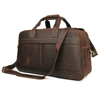 Leather Travel Duffel Bag Overnight Weekend Luggage Carry On Underseat Airplanes 6006R