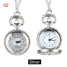 Quartz Pocket Watch Alloy Chain Hollow Out Flower Flip Cover Vintage Pendant Watches for Women TH36(China)