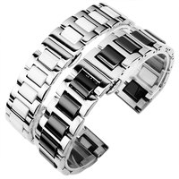 16mm 18mm 20mm ceramic Bracelet and stainless steel watchband white or black watch band watch strap Butterfly Buckle wristband