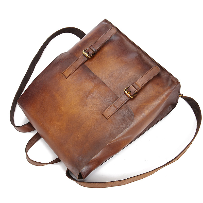 Brush Color Vintage Style Fashion Genuine Cowhide Leather Backpack Casual Sling Bag Tote For Girl School Bag For Women  LS8841
