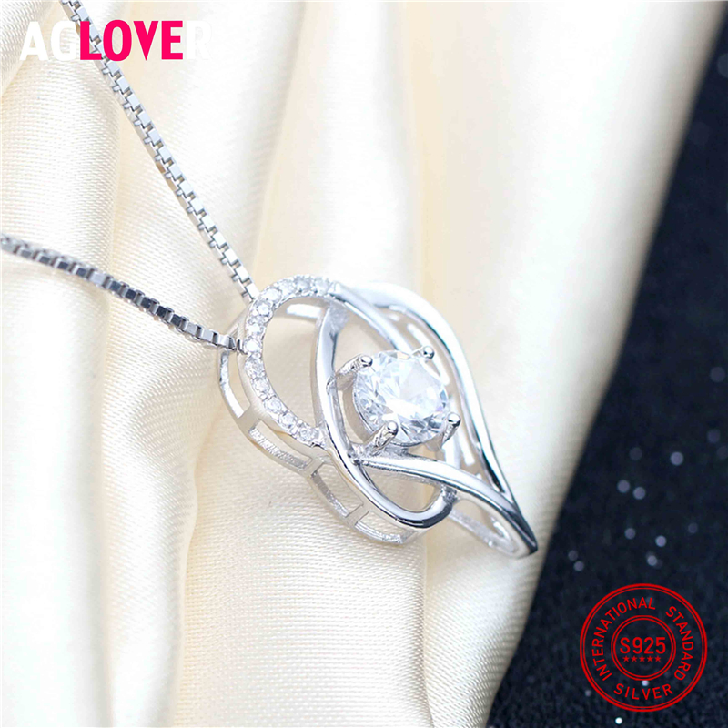 925 Sterling Silver Austria Crystals Heart Pendant Necklace Chain for Valentine 39 s Day Gift of Love in Necklaces from Jewelry amp Accessories