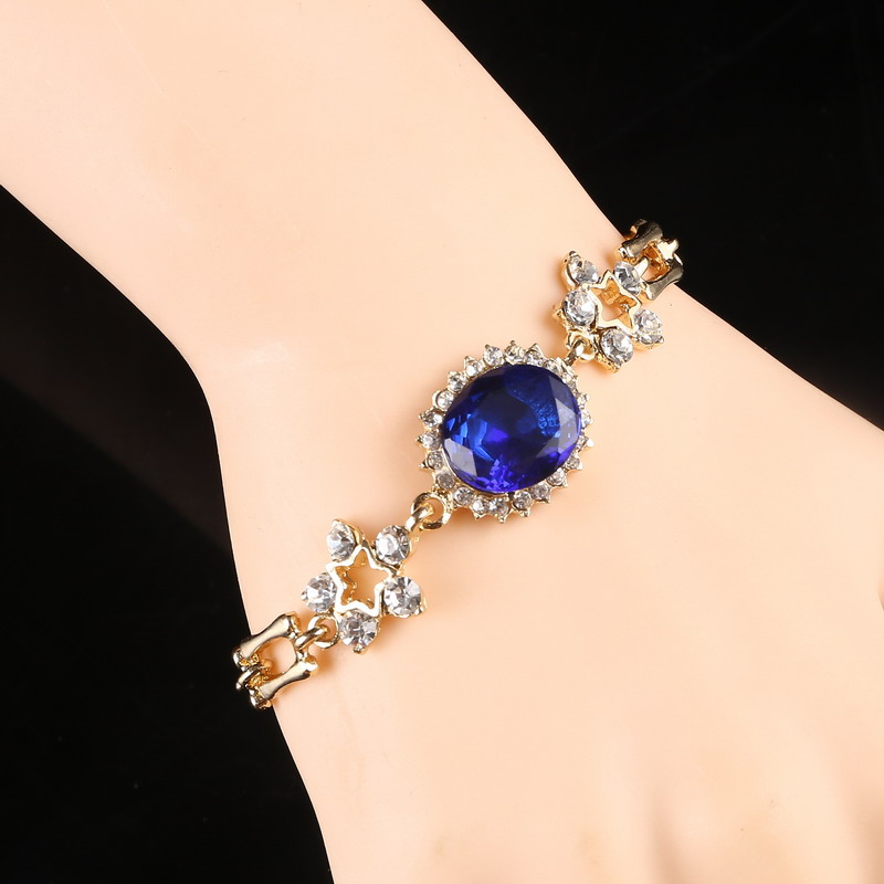 Brilliant Navy Blue Crystal Bracelet Created Rhinestone Accessory Flower Design Wrist Golden Plated Bracelet