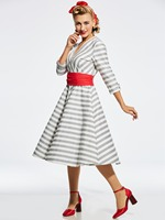 Sisjuly Fashionable White Grey Stripe Dress Red Sashes Bow Decorate Casual Dresses Woman Dresses Plus High
