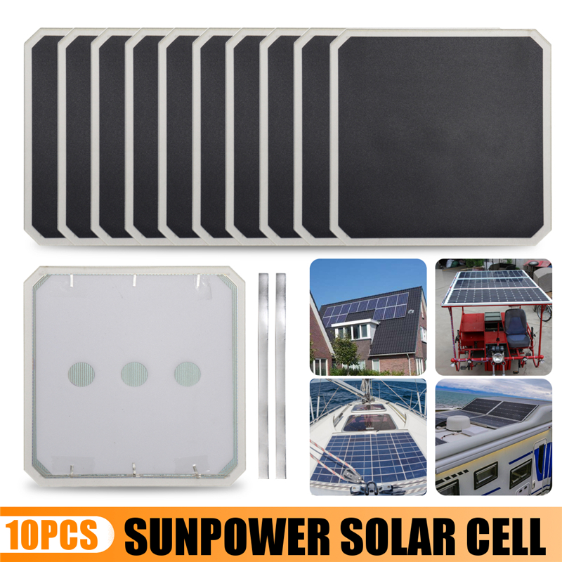 2018 Best price 10pcs 58V 6A 3.4W 134*134cm JE3 High Efficiency Sunpower Solar Cell With Welding Tape Kit