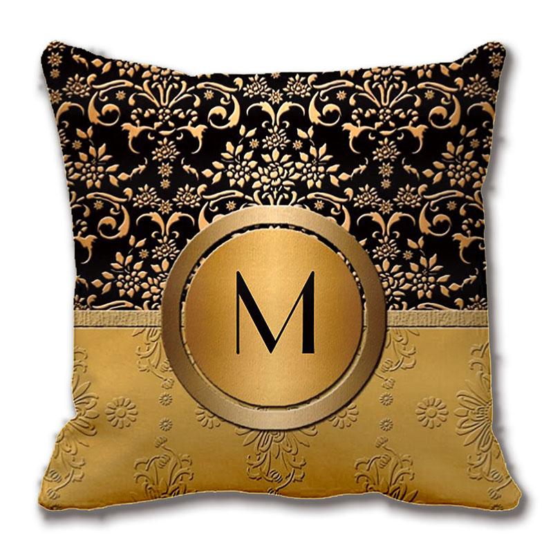 fancy monogram gold and black damask design pillow decorative