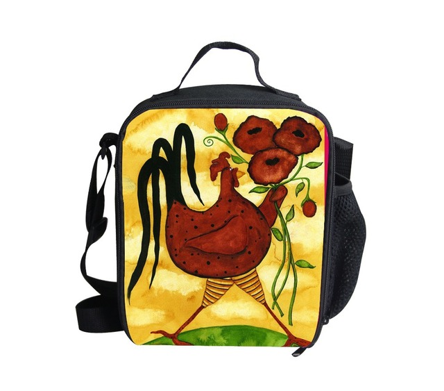 FORUDESIGNS Christmas gifts new arrival kids cross body bags,3d cartoon rooster lunch bags for boys and girls,children lunch box