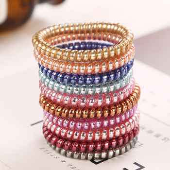 10Pcs/Lot New Multicolor Telephone Cord Women Headwear Elastic Rubber Bands Girls Gum Ponytail Holders Hair Accessories 5CM