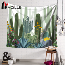 Miracille Green Cactus Printed Wall Tapestry Home Plant Room Decorative Sofa Cover Wall Art Tapestry Hippie Carpet Beach Towel цена 2017