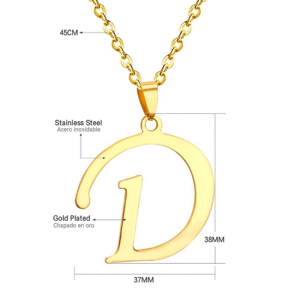 ASONSTEEL 5pcs/lot Wholesale 26 Letter Necklaces Stainless Steel Gold Color Alphabet Pendant Necklace Female Bijoux Christmas
