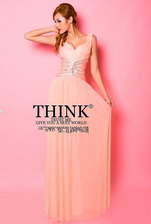 Распродажа кружева v-образным вырезом Длинные платья для вечеринки вечерние платья vestido de festa rendo robe de soiree Abiti da сывороток H0631 - Цвет: Powder orange