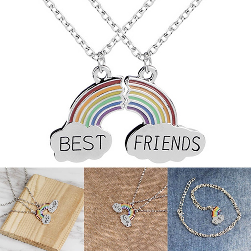 639a901f922278 Trendy Best Friends Pendant Necklace Rainbow Broken Heart Necklace For Women  Silver Chain BFF Friendship Jewelry-in Pendant Necklaces from Jewelry ...