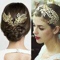 Popular barroco estilos oro boda de la hoja Tiara nupcial peine del pelo tocado de flores de la aleación de la corona pelo de la boda accesorios